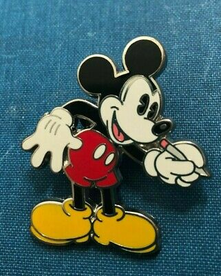 disney trading pin Mickey Mouse artist drawing writing pencil vintage souvenir