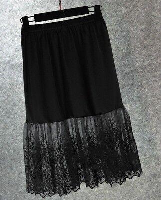 Womens Lace Slip Skirt Chiffon Extender Knee Length Underskirt Petticoat - Lace Petticoat
