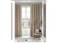 Next Eyelet Blackout Curtains Beige 168 x 193cm