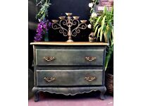 CHEST OF DRAWERS GILT GOLD & GREY SOLID OAK FRENCH LOUIS STYLE