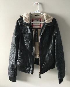 Garage leather jacket with fur lining