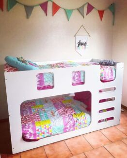 White lowline bunk beds