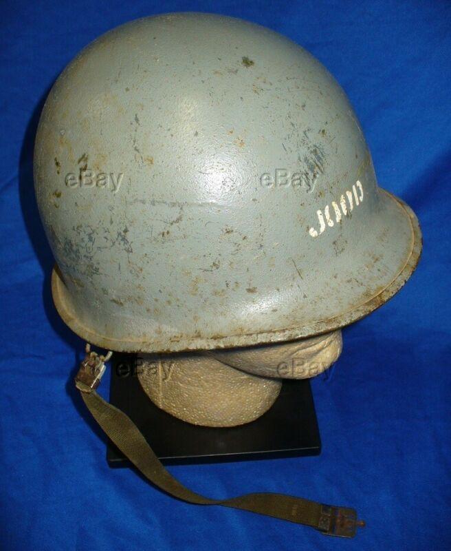 M1 US POT HELMET NAVY GRAY VIETNAM REAR SEAM SWIVEL BALE JOOD JR OFFICER DECK US