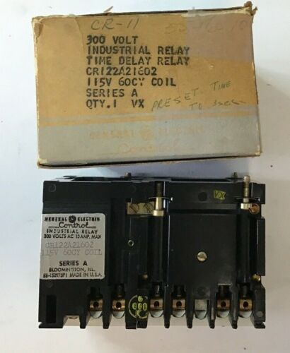 GENERAL ELECTRIC CR122A21602 TIME DELAY RELAY 300VOLT 115V 60CY COIL SER.A