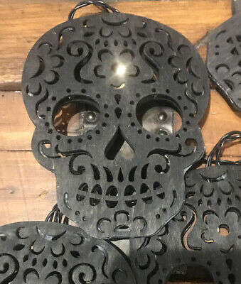 Mortar & Bone 6' LED Lighted Black Sugar Skull Garland NIB