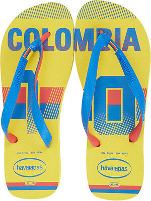 New! HAVAIANAS Colombia Yellow Red Blue National Soccer Flip Flops Size (Havaianas Yellow)