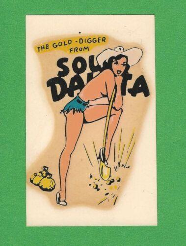 "VINTAGE ORIGINAL 1950 SOUVENIR ""SOUTH DAKOTA"" SEXY PINUP TRAVEL WATER DECAL ART"