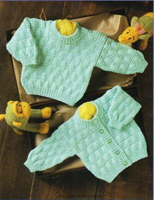 "Baby Textured Sweater & Cardigan Easy Beginner  12 - 22"" DK Knitting Pattern"