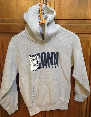 UCONN Connecticut Huskies Gray Grey Hoodie Hooded Sweatshirt Boys Youth Large L for sale  Hinsdale