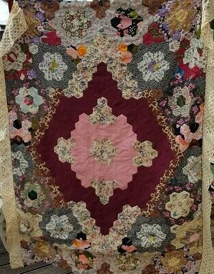 Vintage Patchwork reversible bedcover throw 134cm x 162cm