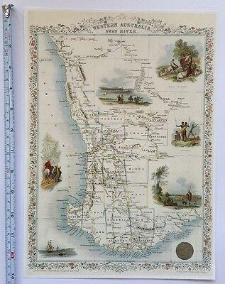 Antique vintage map 1800s: West Australia: John Tallis 13 X 9 Reprint 1851c