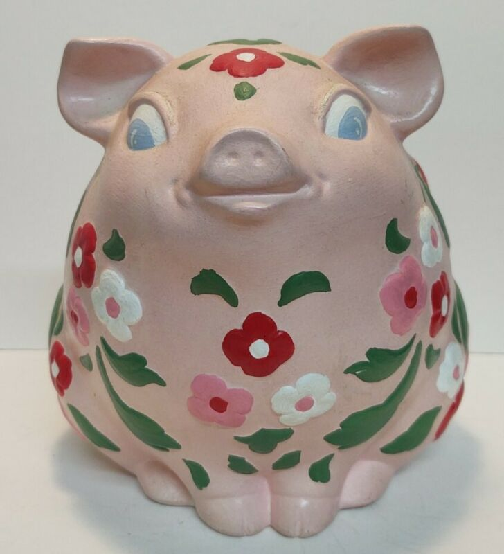 Hand painted Piggy Bank 1973 Floral