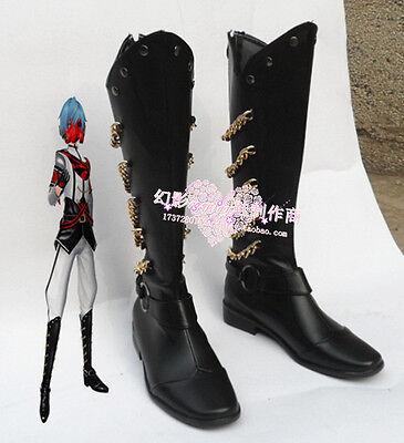 Vocaloid Kaito Unhappy Refrain Halloween Black Cosplay Shoes Boots H016](Unhappy Halloween)
