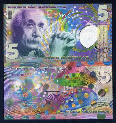 Kamberra, 5 Numismas, 2018, UNC Einstein, New issue, Completely redesigned