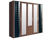 **7-DAY MONEY BACK GUARANTEE!** Yvonne 5 Door German Heavy Quality Wardrobe - BRAND NEW!