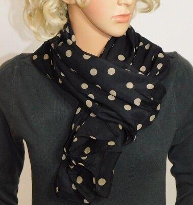 Polka Dot Scarves (Wear Freedom Black Scarf With Tan Polka Dot Scarves Shawl Stole)