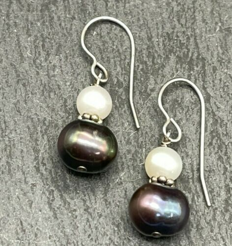 Vintage Sterling Silver Dangle Earrings - Graduated White and Black Pearls - 925