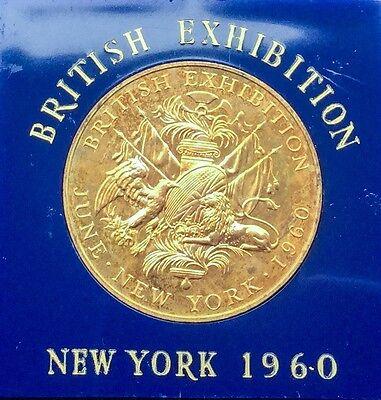 1960 GILT BRONZE MEDAL  BRITISH EXHIBITION NEW YORK CHOICE W CASE OF ISSUE