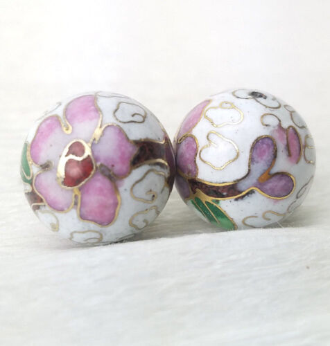 Vintage Big White Pink Flowers Cloisonne Chinese Enamel 18mm Round 2Pcs