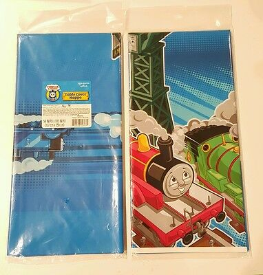 THOMAS THE TRAIN AND FRIENDS HALLMARK PARTY PLASTIC TABLE COVERS (2) NEW - Thomas The Train Table Cloth
