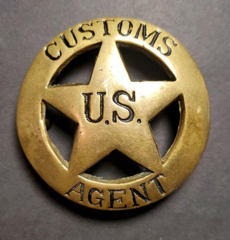 U.S. Customs Agent Solid Brass Belt Buckle