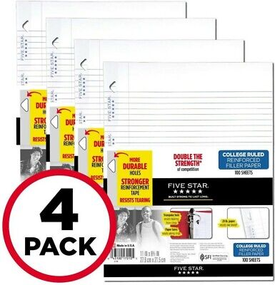Five Star Reinforced Filler Paper College Ruled 11 X 8 12 4 Pack 100 Sheets