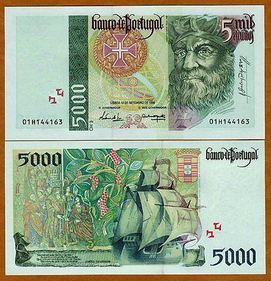 Portugal, 5000 (5,000) Escudos, 1996, P-190 (190b) Gem UNC   last Pre-Euro