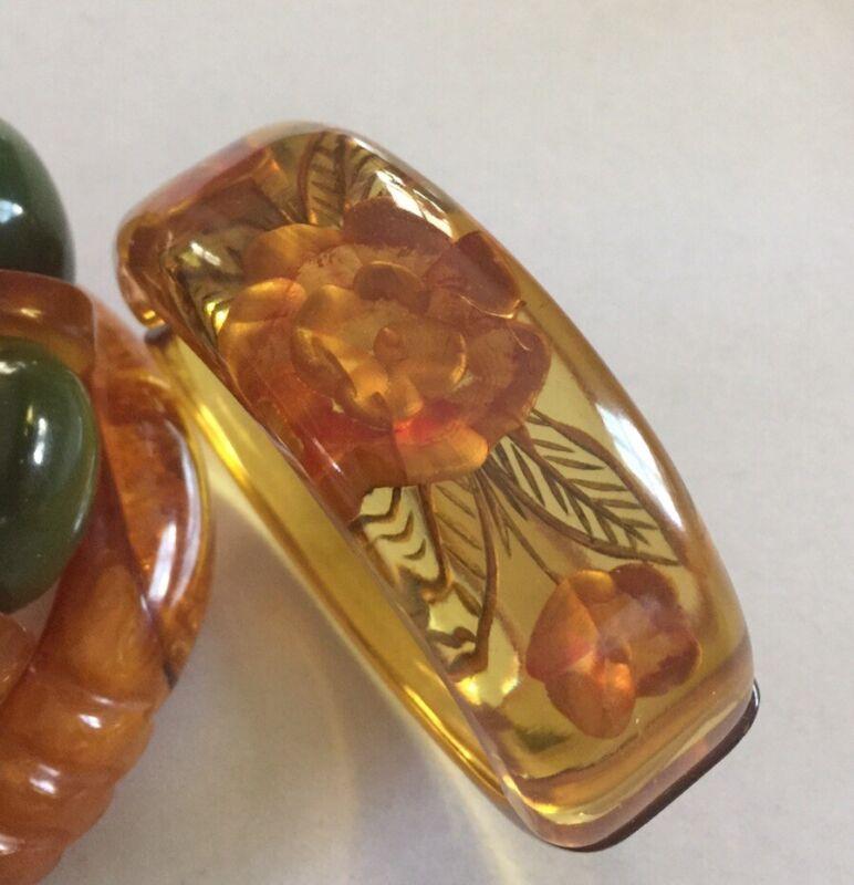 Applejuice Bakelite Reversed Carved Hinged Clamper Bracelet