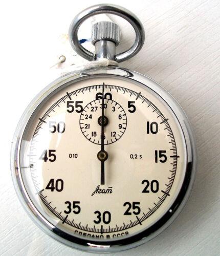 "Soviet Russian USSR Stopwatch ""Agat"" mechanical One-Button NEW"
