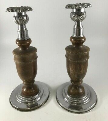 PAIR OF EDWARDIAN OAK WOODEN CANDLESTICKS