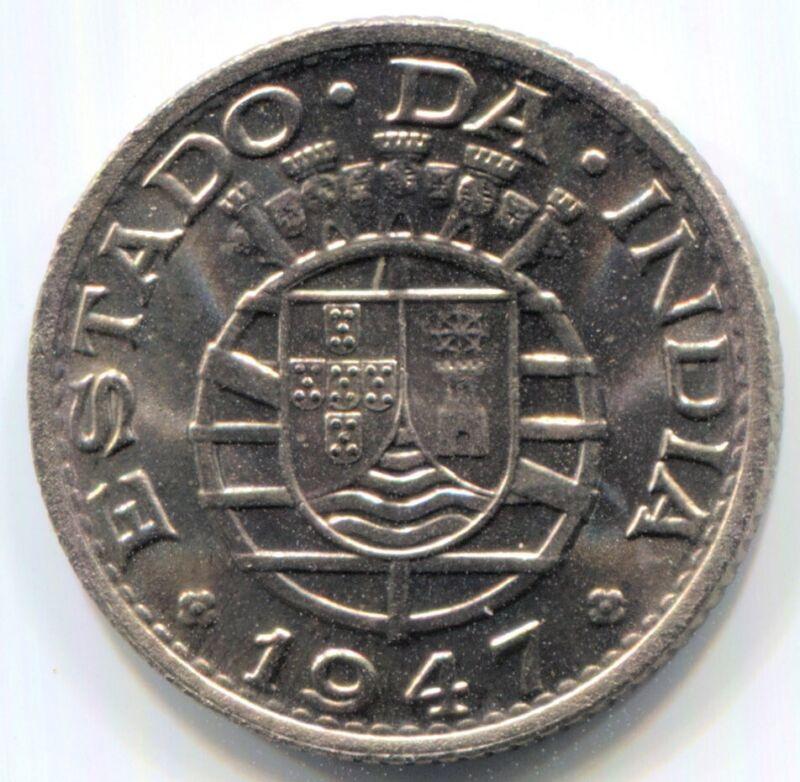 India-Portuguese - 1947 1/4 Rupia KM#25 in Gem BU
