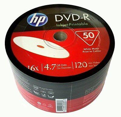 50 HP Blank 16X DVD-R DVDR White Inkjet Hub Printable 4.7GB Media Disc