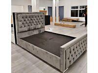 🔥🔥FULL ITALIAN DESIGN🔥🔥 BRAND NEW PLUSH VELVET FABRIC HEAVEN DOUBLE BED FRAME GREY COLOR