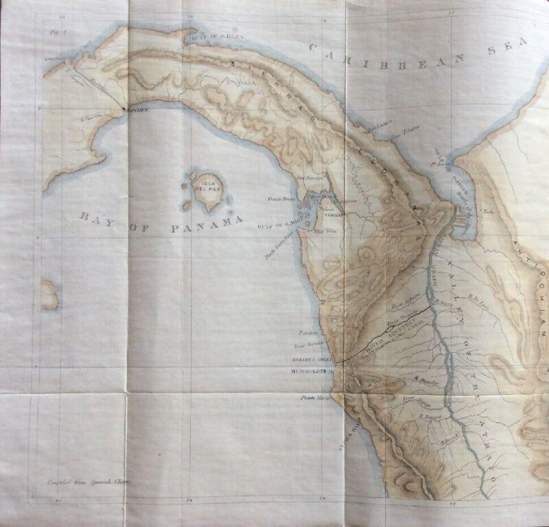 "1852 Darien Isthmus Rio Atrato Panama InterOceanic Ship Canal Linen Map 28 x 10"""