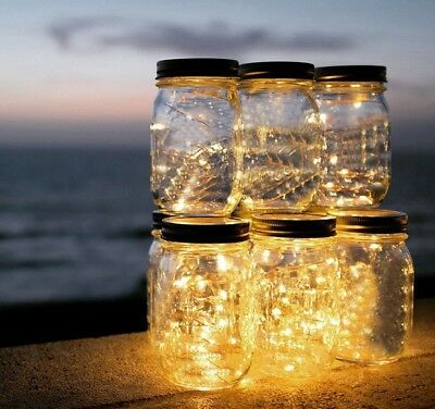 Mason Jar Covers (Glass Clear Mason Jar With Cover And LED Lighting Use For House Party)