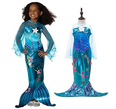 Girls Mermaid Dresses With Pearl Halloween Costumes For Children Carnival Dress