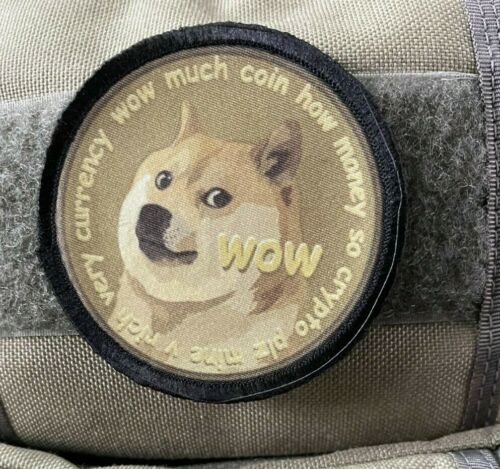 Dogecoin Morale Patch Tactical Military Army Badge Flag USA Hook
