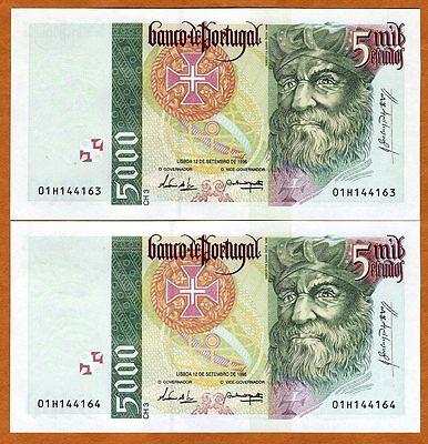 Portugal, 2 x 5000 (5,000) Escudos, 1996, P-190 (190b) Gem UNC > last Pre-Euro