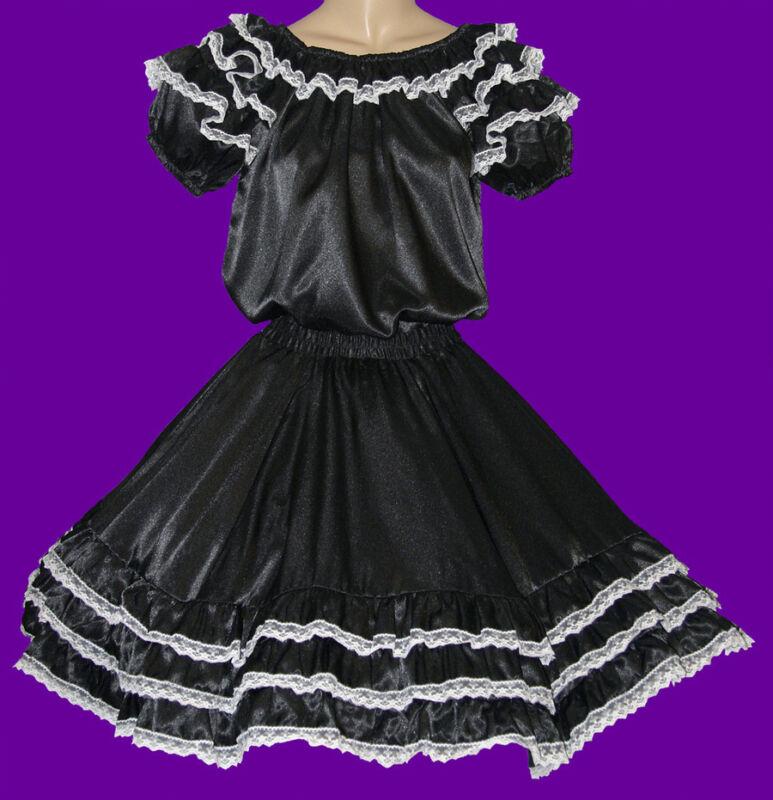 "BLACK SQUARE DANCE DRESS OUTFIT  BLOUSE, SKIRT WAIST 25""-32"""