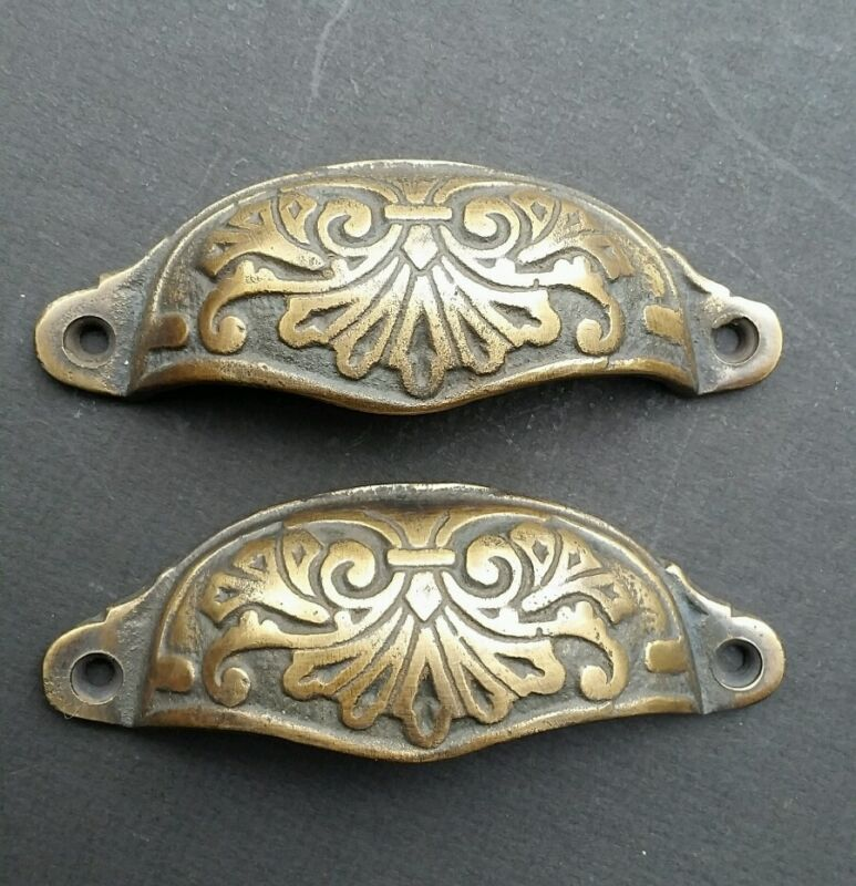 """2 Ornate Apothecary Cabinet Drawer Cup Pull Handles Victorian Style 3-1/2""""c  #A1"""