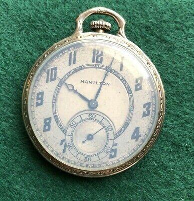 Nice Antique 1928 Hamilton 912 17J 12s 14K Gold Filled Pocket Watch