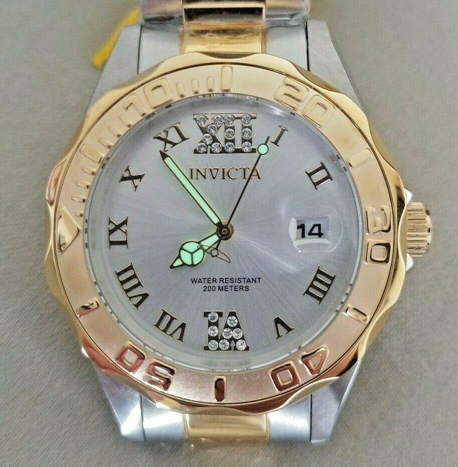 INVICTA 12852 38mm PRO DIVER Gem TWO-TONED STAINLESS Date WOMAN S Roman WATCH - $52.00