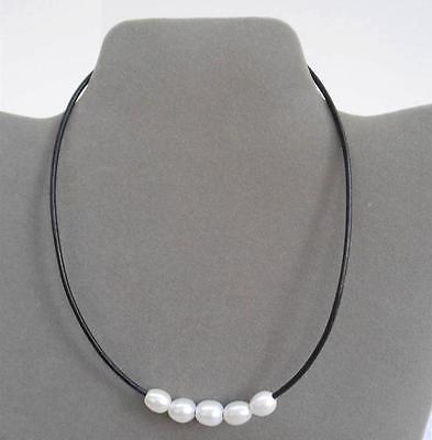 Island Sense Black Leather Cord & White Freshwater Pearl  Choker Necklace