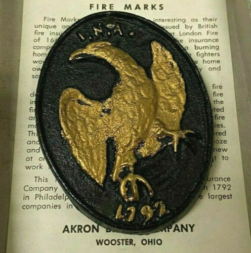 Vintage Fire Mark I.N.A. 1792 Painted Cast Metal Replica