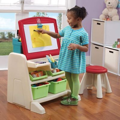 - Easel For Kids Art Desk Stool Set Storage Drawing Dry Erase Board Toddlers Play