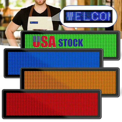 Led Programmable Digital Display Scrolling Message Tag Name Badge Moving Sign Us