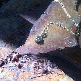 Lovely Emerald and Diamond Earrings and Necklace Set