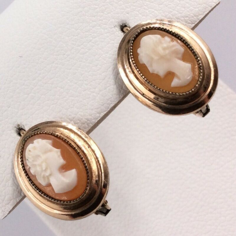 VICTORIAN GOLD FILLED CAMEO SHELL LEVER BACK EARRINGS