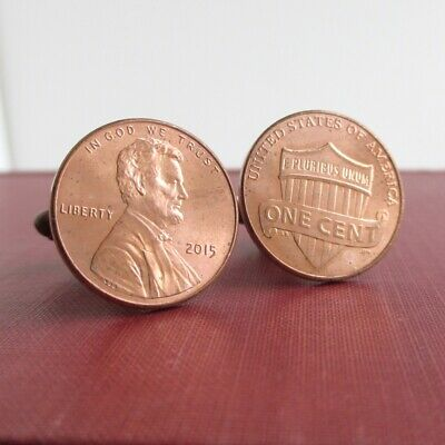 One Cent Coin Cufflinks - USA Penny Cuff Links - Repurposed US Lincoln & Shield One Cent Coin Cuff Links