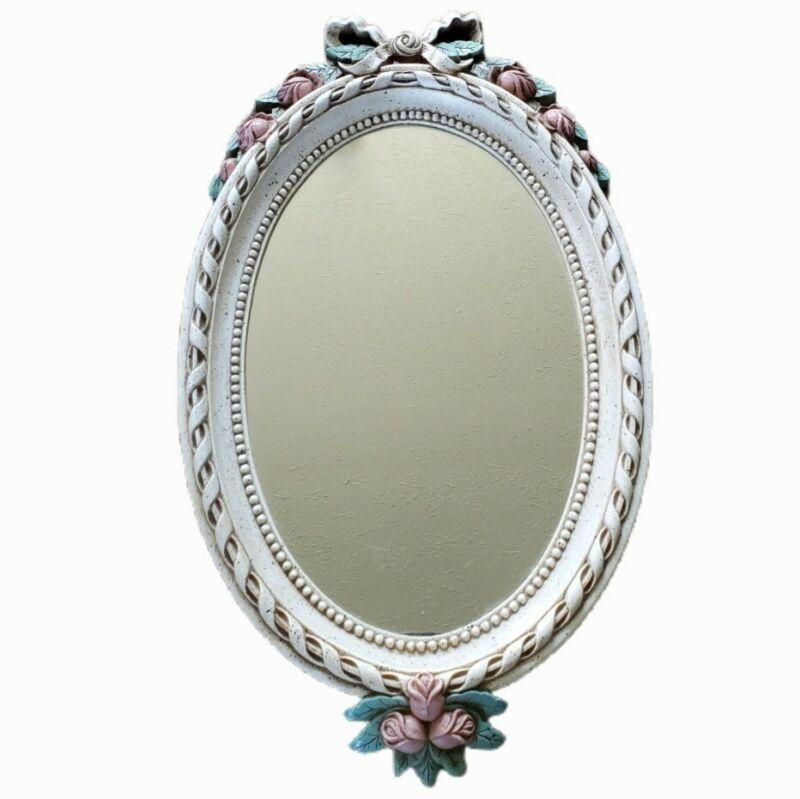 Vtg Home Interiors Homco Pink Rose Bud Oval Mirror 22x13 Romantic Shabby Chic